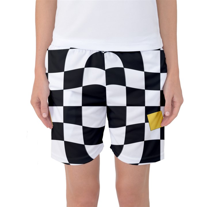 Dropout Yellow Black And White Distorted Check Women s Basketball Shorts
