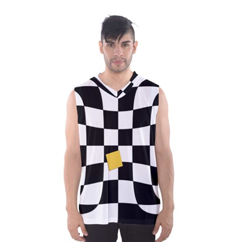Dropout Yellow Black And White Distorted Check Men s Basketball Tank Top