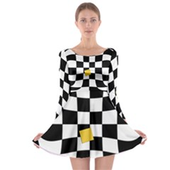 Dropout Yellow Black And White Distorted Check Long Sleeve Skater Dress