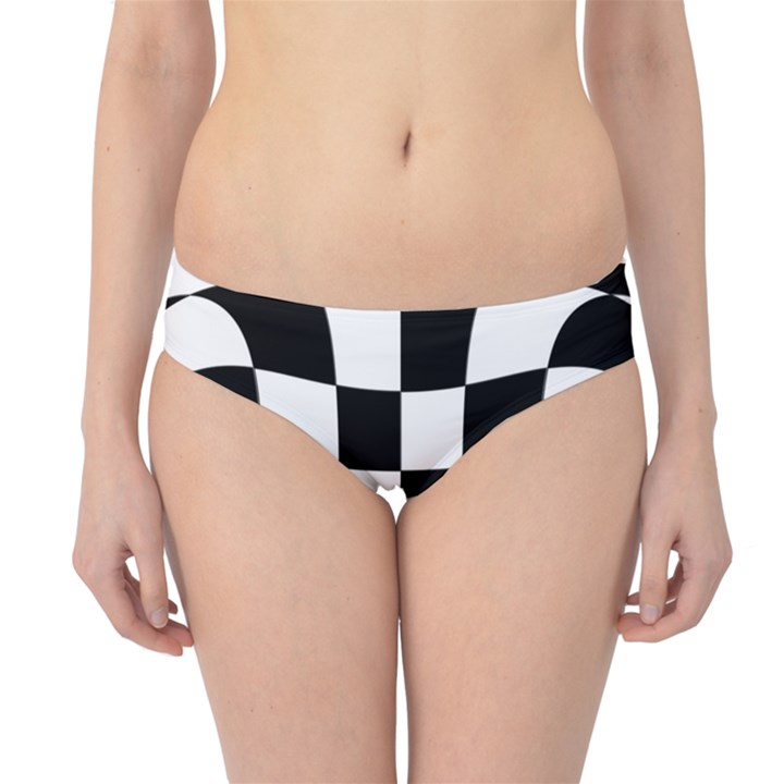 Dropout Yellow Black And White Distorted Check Hipster Bikini Bottoms