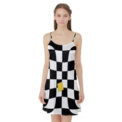 Dropout Yellow Black And White Distorted Check Satin Night Slip
