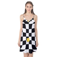 Dropout Yellow Black And White Distorted Check Camis Nightgown
