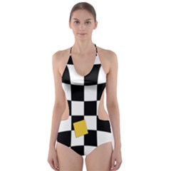 Dropout Yellow Black And White Distorted Check Cut-Out One Piece Swimsuit