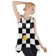Dropout Yellow Black And White Distorted Check Side Drop Tank Tunic