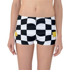 Dropout Yellow Black And White Distorted Check Reversible Boyleg Bikini Bottoms