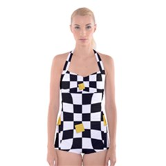 Dropout Yellow Black And White Distorted Check Boyleg Halter Swimsuit
