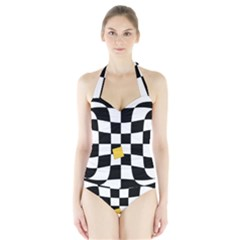Dropout Yellow Black And White Distorted Check Halter Swimsuit