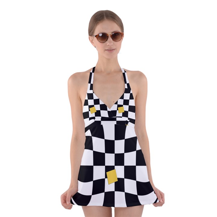 Dropout Yellow Black And White Distorted Check Halter Swimsuit Dress