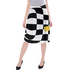 Dropout Yellow Black And White Distorted Check Midi Beach Skirt