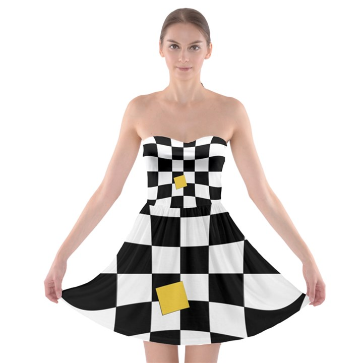 Dropout Yellow Black And White Distorted Check Strapless Bra Top Dress
