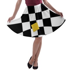 Dropout Yellow Black And White Distorted Check A-line Skater Skirt