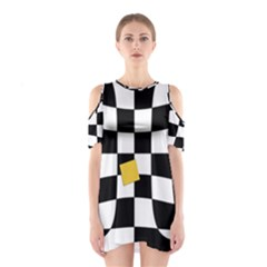 Dropout Yellow Black And White Distorted Check Cutout Shoulder Dress