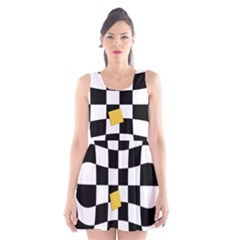 Dropout Yellow Black And White Distorted Check Scoop Neck Skater Dress