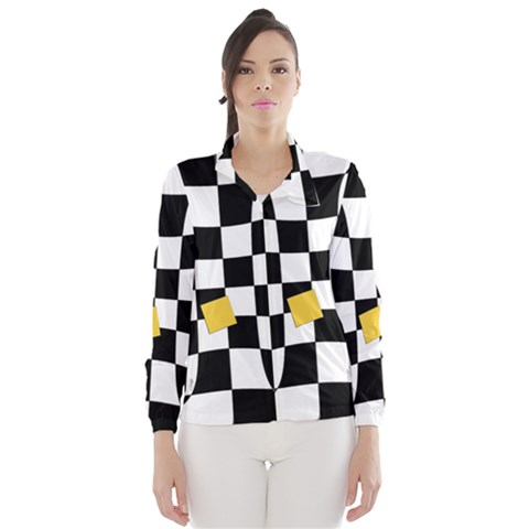 Dropout Yellow Black And White Distorted Check Wind Breaker (Women)