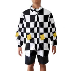 Dropout Yellow Black And White Distorted Check Wind Breaker (kids)