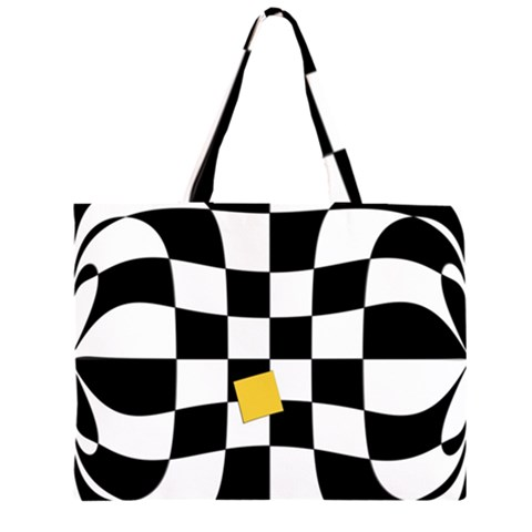 Dropout Yellow Black And White Distorted Check Large Tote Bag