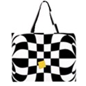 Dropout Yellow Black And White Distorted Check Large Tote Bag View1
