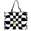 Dropout Yellow Black And White Distorted Check Large Tote Bag View2