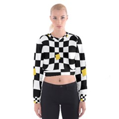 Dropout Yellow Black And White Distorted Check Women s Cropped Sweatshirt