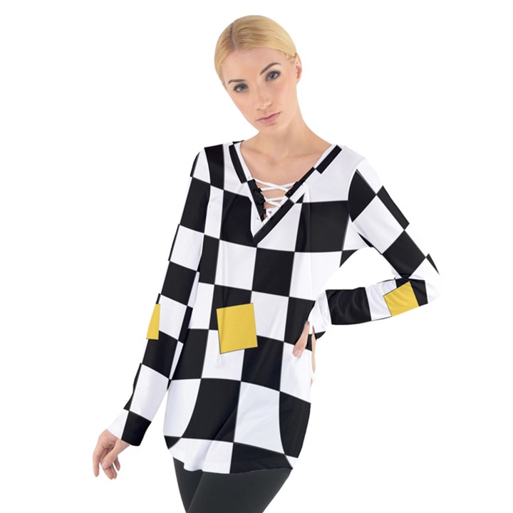 Dropout Yellow Black And White Distorted Check Women s Tie Up Tee