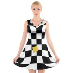 Dropout Yellow Black And White Distorted Check V Neck Sleeveless Skater Dress