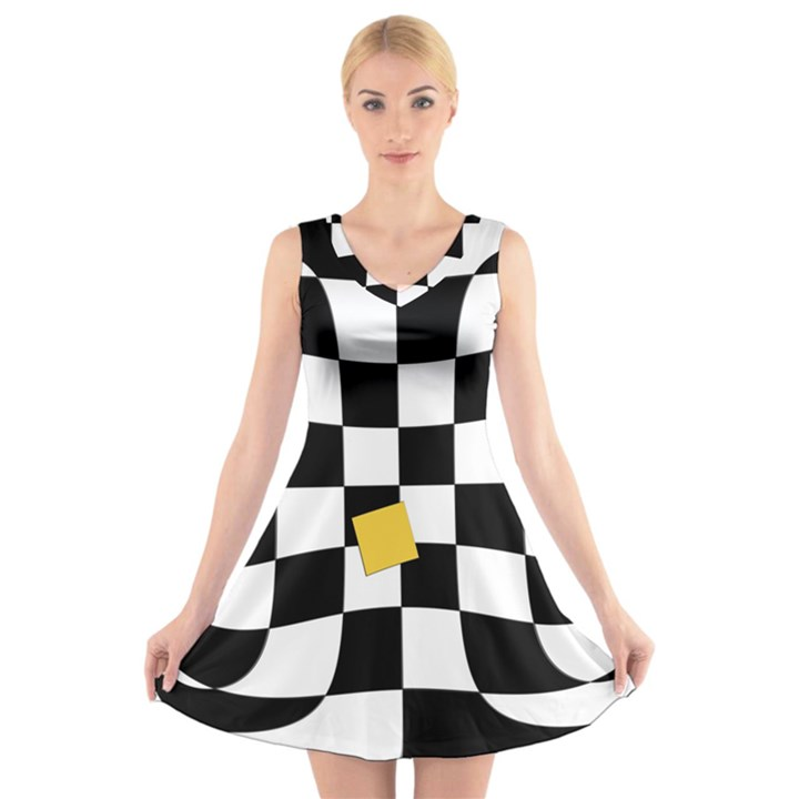 Dropout Yellow Black And White Distorted Check V-Neck Sleeveless Skater Dress