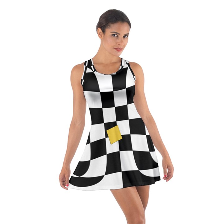 Dropout Yellow Black And White Distorted Check Cotton Racerback Dress