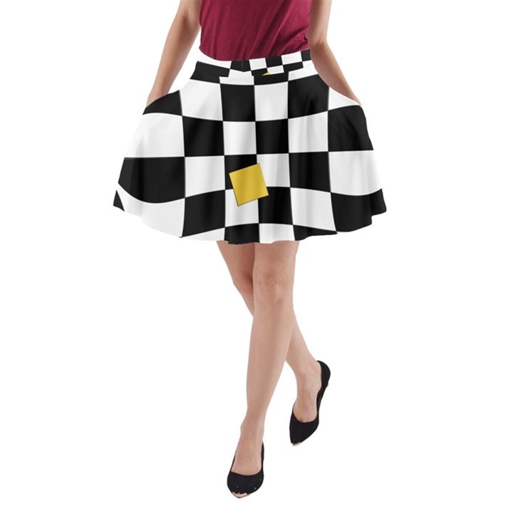 Dropout Yellow Black And White Distorted Check A-Line Pocket Skirt