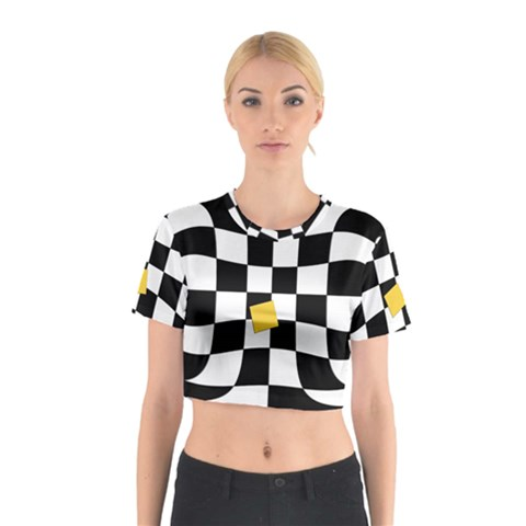 Dropout Yellow Black And White Distorted Check Cotton Crop Top