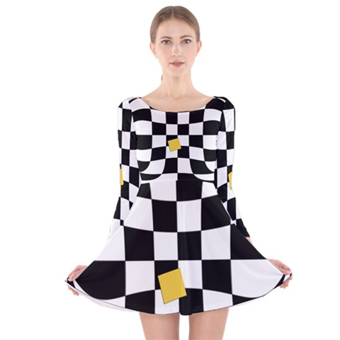 Dropout Yellow Black And White Distorted Check Long Sleeve Velvet Skater Dress