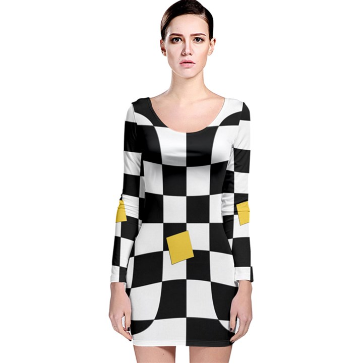 Dropout Yellow Black And White Distorted Check Long Sleeve Velvet Bodycon Dress