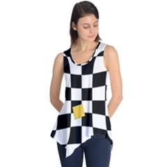 Dropout Yellow Black And White Distorted Check Sleeveless Tunic