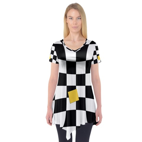 Dropout Yellow Black And White Distorted Check Short Sleeve Tunic