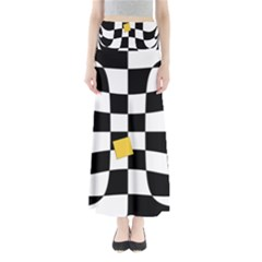 Dropout Yellow Black And White Distorted Check Maxi Skirts