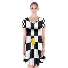 Dropout Yellow Black And White Distorted Check Short Sleeve V Neck Flare Dress