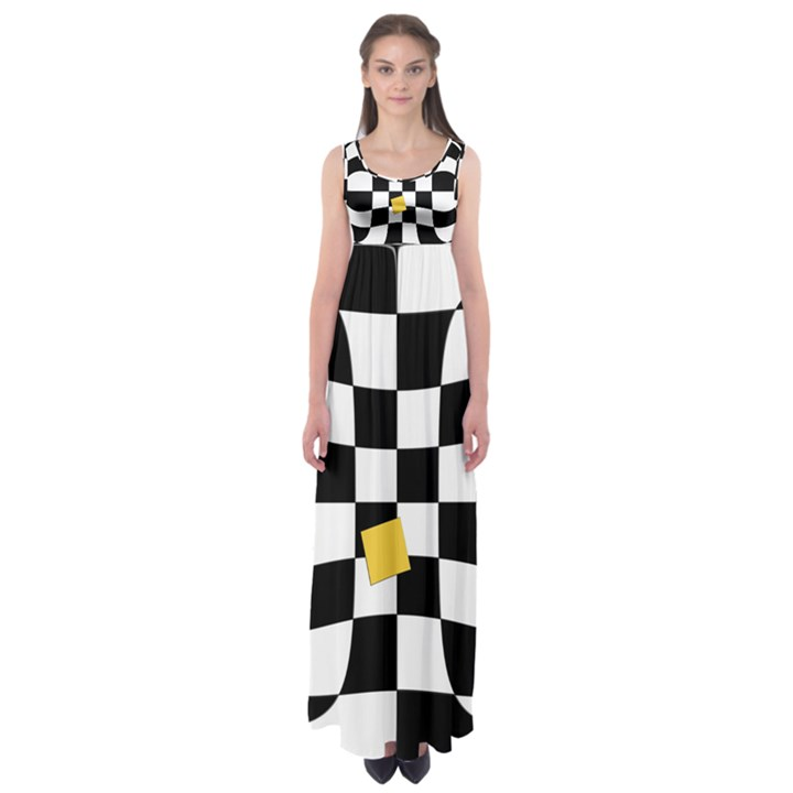 Dropout Yellow Black And White Distorted Check Empire Waist Maxi Dress