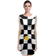 Dropout Yellow Black And White Distorted Check Classic Sleeveless Midi Dress