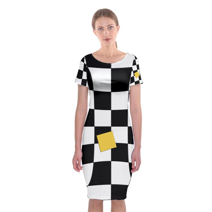 Dropout Yellow Black And White Distorted Check Classic Short Sleeve Midi Dress