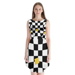Dropout Yellow Black And White Distorted Check Sleeveless Chiffon Dress