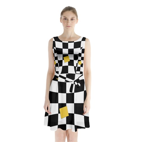 Dropout Yellow Black And White Distorted Check Sleeveless Chiffon Waist Tie Dress