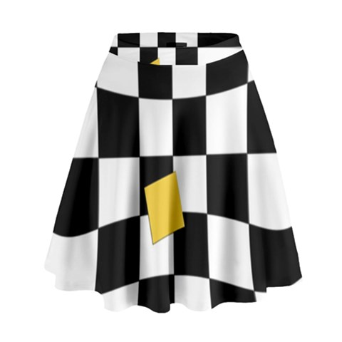 Dropout Yellow Black And White Distorted Check High Waist Skirt
