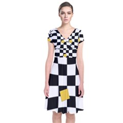 Dropout Yellow Black And White Distorted Check Short Sleeve Front Wrap Dress