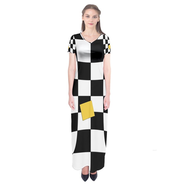 Dropout Yellow Black And White Distorted Check Short Sleeve Maxi Dress