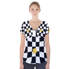 Dropout Yellow Black And White Distorted Check Short Sleeve Front Detail Top