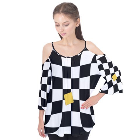 Dropout Yellow Black And White Distorted Check Flutter Tees