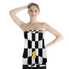Dropout Yellow Black And White Distorted Check Strapless Top