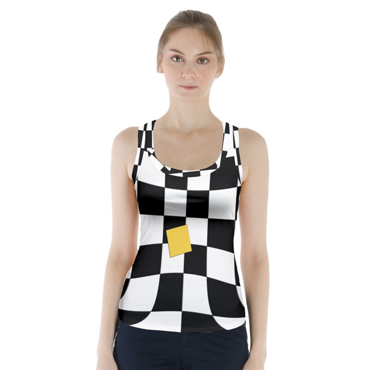 Dropout Yellow Black And White Distorted Check Racer Back Sports Top