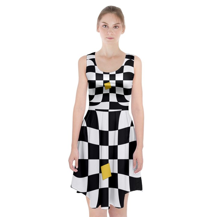 Dropout Yellow Black And White Distorted Check Racerback Midi Dress