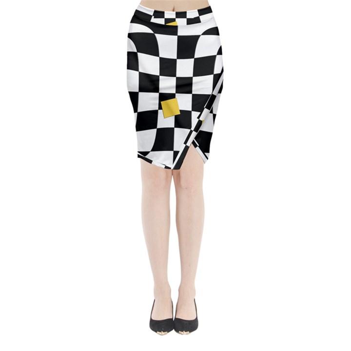 Dropout Yellow Black And White Distorted Check Midi Wrap Pencil Skirt