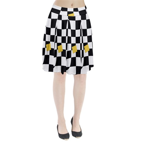 Dropout Yellow Black And White Distorted Check Pleated Skirt